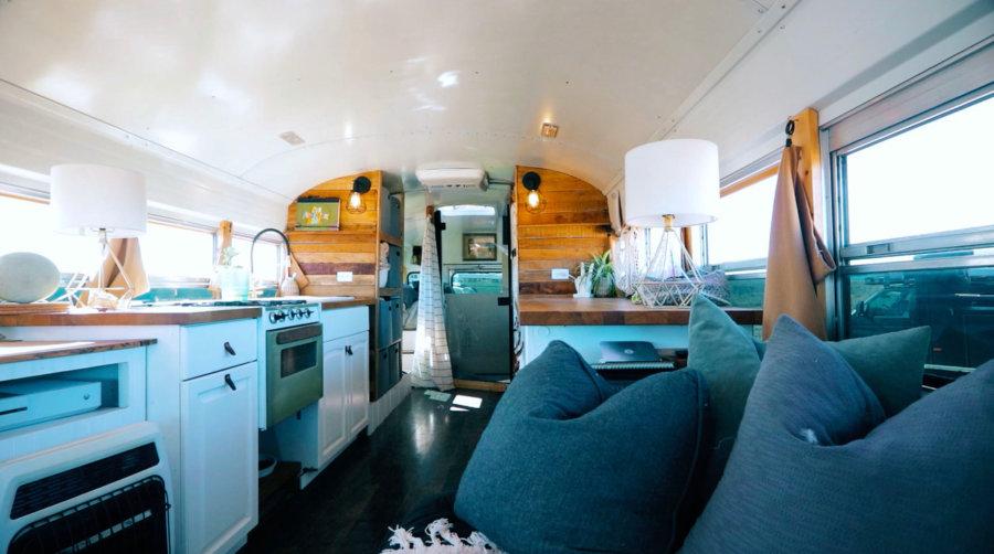 Sloth High Five Interior Skoolie Bus Conversion